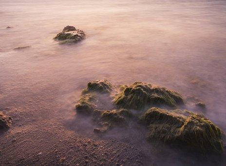 Landscape, Marine, Beach, Rocky, Long Exposure, Purple