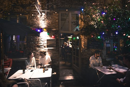 Bar, Outside, Summer, Sitting, People, Drinking