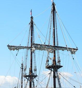 Galleon Ship, Masts, Sails, Vintage, Retro, Antique