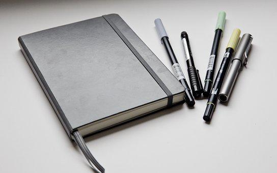 Bullet, Journal, Closed, Exterior, Grey, Pens, Tombow