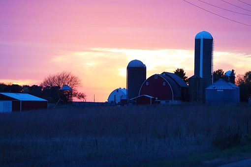 Farm, Farmland, Sunset, Agriculture, Landscape