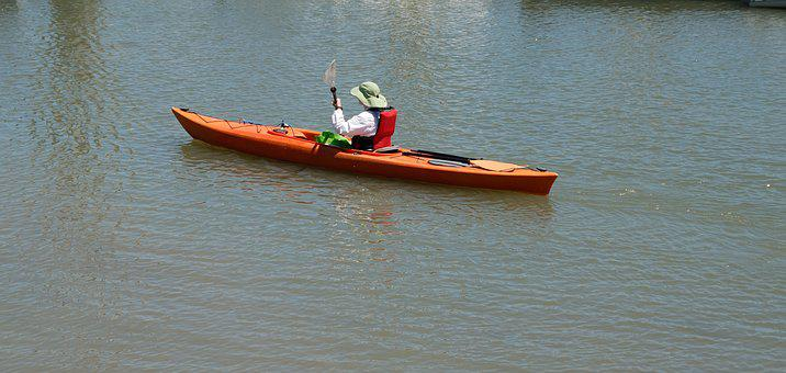 Lady Kayaking, Background, Person, Recreation