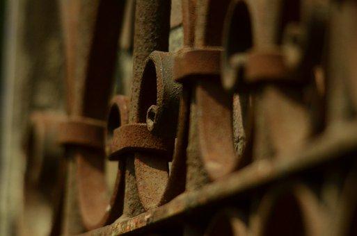 Fence, Lead, Steel, Rusty, Rust, Old, Metal, Vintage