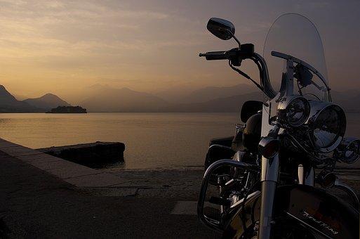 Harley, Water, Lake, Evening, Italy, Sunset, Motorcycle