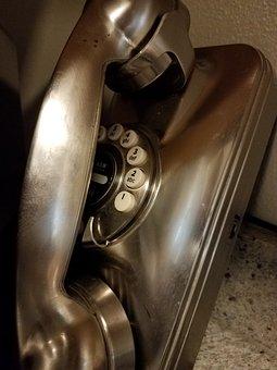 Phone, Rotary, Silver, Old Phone, Vintage Phone