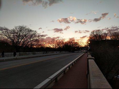 Bridge, Sunset, Winter, Washington Dc, P Street