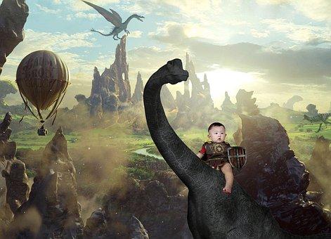 Fantasy, Dinosaur, Paladin, Boy And The Dinosaur