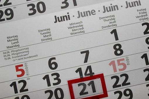 Calendar, Pay, Number, Year, Date, June, Week, Plan