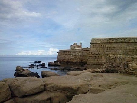 Island, Sea, Fortress, Tabarca, Rocks, Landscapes, Sky