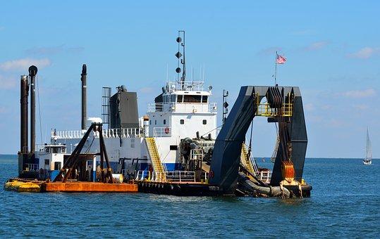 Dredger, Boat, Business, Water, Industry, Vessel, Ship