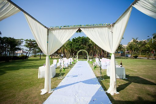 Ceremony Pavilion, Wedding, White And Green