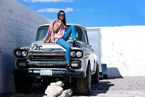 Model, Sky, City, Old Car, Fashion, Young, Woman