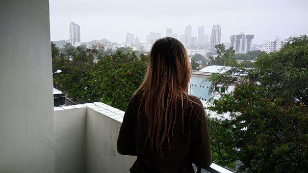 Girl On The Balcony, Girl, Balcony, Climate, Rain