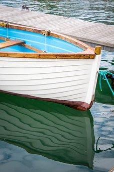 Boat, Marina, Reflections, Water, Sea, Harbor, Blue