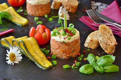 Salmon, Salmon Tartare, Tartar, Fish, Zucchini, Tomato