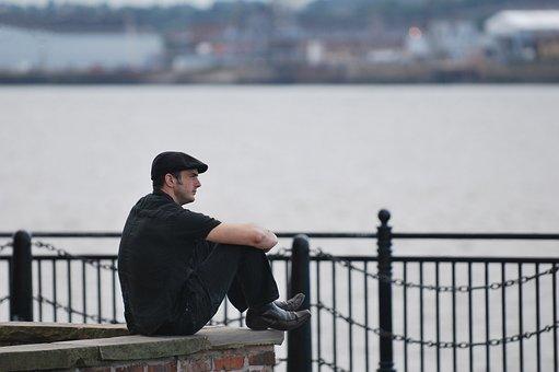 Liverpool, Mersey, Thoughtful, Ponder, Flat, Cap