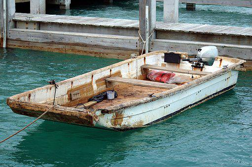 Old Grunge Boat, Boat, Moored, Outboard Motor, Old