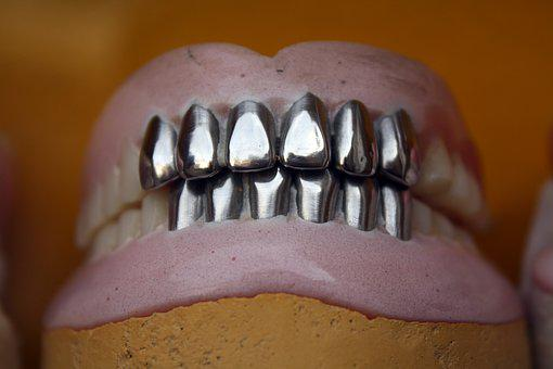 Metal Teeth, Dental, Denture, Orthodontic, Mouth, Oral