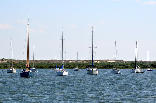 Sailboats, Moored, River, Nature, Landscape, Boat