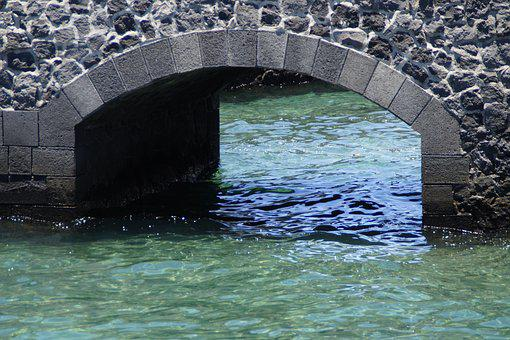 Wall, Arch, Bridge, Water, Atlantic, Blue, Sea