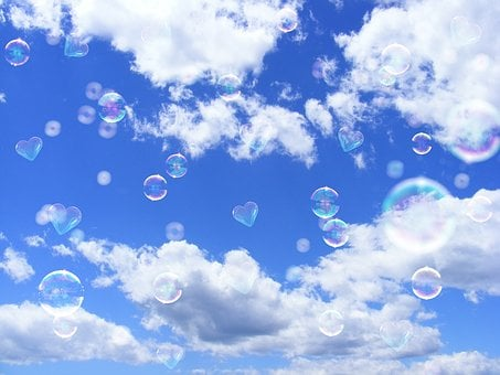 Sky, Summer, Clouds, Soap Bubbles, Heart, Blue Sky