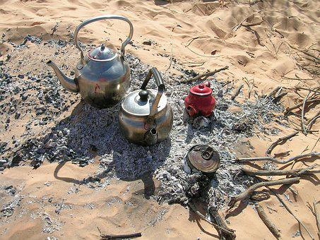 Tea In The Sahara, Tee, Desert, Campfire, Teapot