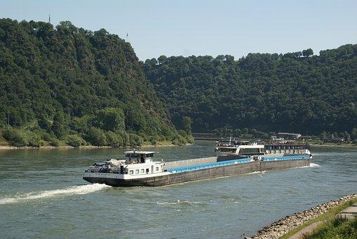 Barge, Loreley, Bakeck, St Goar, Transpot, Middle Rhine
