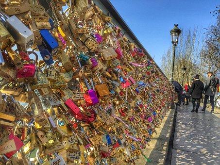 Love Locks, Locks, Bridge, Paris, France, French, Heart