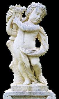 Angel, Harp, Cemetery, Sculpture, Stone, Art, Music