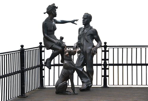 Bronze, Man, Woman, Dog, Body, Young, Statue, Male