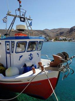 Boat, Folegandros, Greece, Mediterranean, Cyclades
