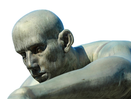 Sculpture, Head, Face, Bronze, Statue, Atmospheric, Man
