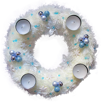 Isolated, Advent Wreath, White Blue