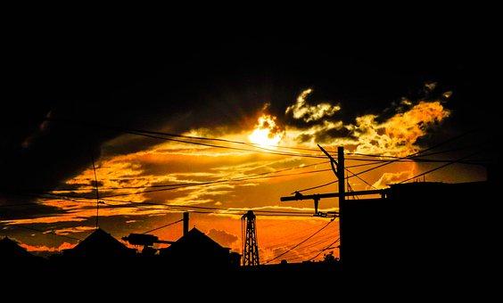 Sunrise, City, Morning, Sky, Architecture, Construction