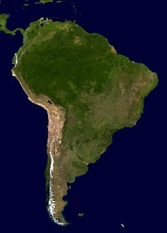 South America, Continent, Land, Map, Aerial View