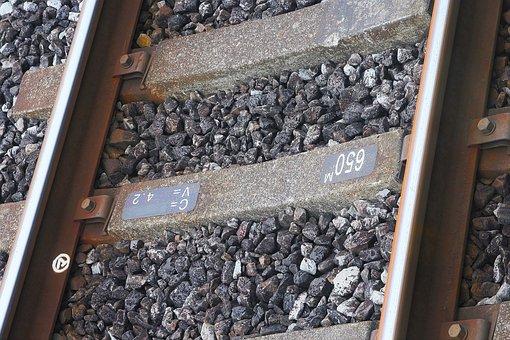 Track, Railway Sleepers, Concrete, Bis, Gravel, Iron