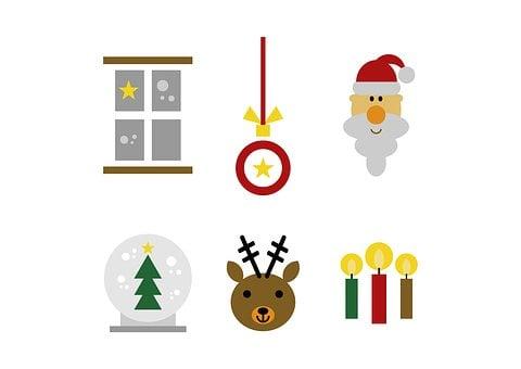 Set, Christmas, Figure, Clip Art, Graphic, Window, Snow