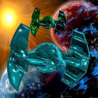 Spaceship, Sun, Space, Distant, Science Fiction, Utopia