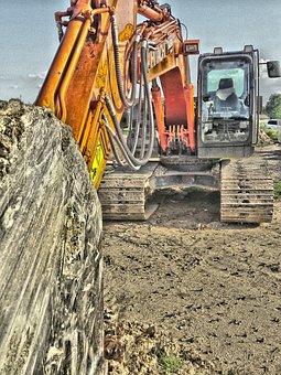 Excavators, Backhoe Bucket, Site, Construction Machine