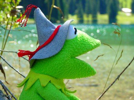 Kermit, Frog, Doll, Figure, Green, Tyrolean Hat