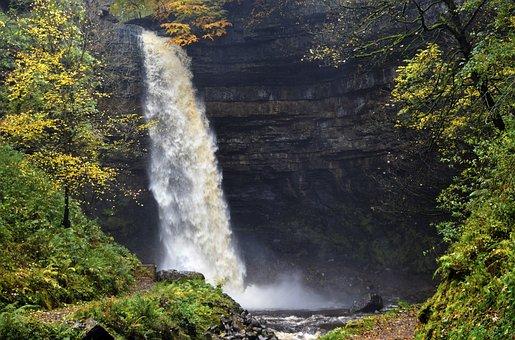 Hardraw Force, Waterfall, Cliff, Drop, Flow, Mist, Wet