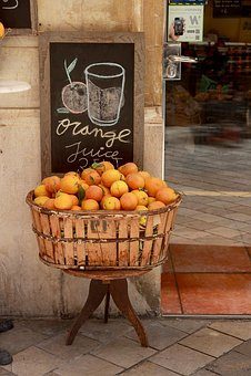 Oranges, Basket, Display, Board, Slate, Fruit Basket