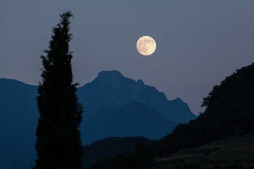 Moon, Cypress, Mountains, Moonrise, Full Moon, Romantic