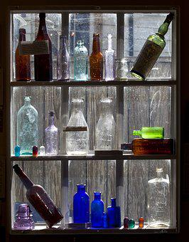 Old Bottles, Display, Colored Glass, Glass, Old