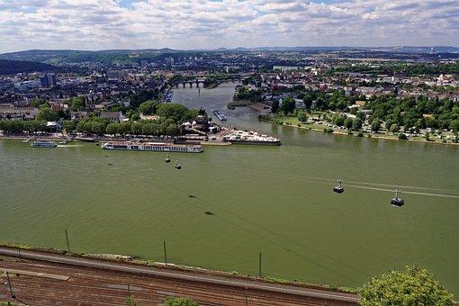 Rhine, Main, German Corner, Koblenz, Landscape, River