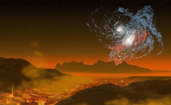 Galaxy, Galaxies Bump Together, Lava, Landscape