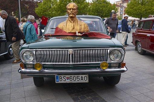Car, Veteran, Volga, Chrome, Retro, Russian Car, Lenin