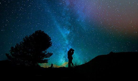 Human, Lovers, Night Sky, Starry Sky, Pair, Star