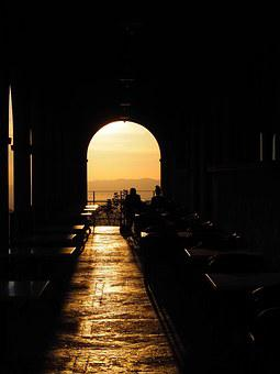 Passage, Round Arch, Abendstimmung, Local, Cozy