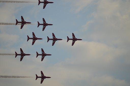 Red Arrows, Smoke Trails, Jet, Speed, Display